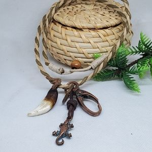 N111 Rustic Lizard, Tooth & Lock Necklace
